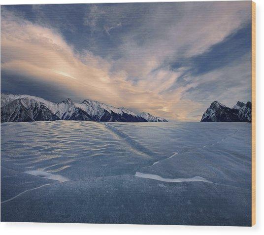 Abraham Lake Ice Wall Wood Print