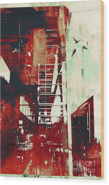 Abstract Architecture With Red Grunge Wood Print