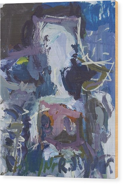 Abstract Blue Cow Wood Print