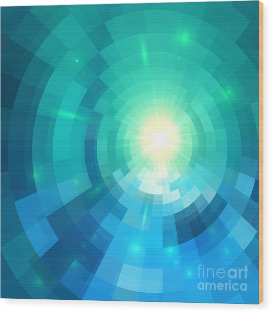 Abstract Blue Shining Circle Tunnel Wood Print
