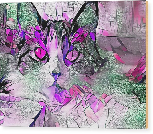 Abstract Calico Cat Purple Glass Wood Print