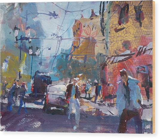 Abstract Cityscape Painting Wood Print