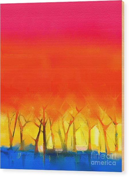 Abstract Colorful Oil Painting Wood Print