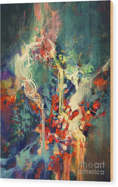 Abstract Colorful Painting,melted Wood Print