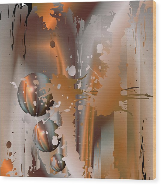 Abstract Copper Wood Print