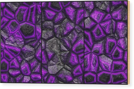 Abstract Deep Purple Stone Triptych Wood Print