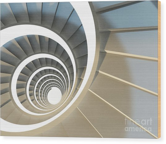 Abstract Endless Spiral Staircase With Wood Print