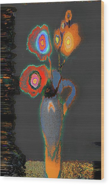 Abstract Floral Art 367 Wood Print