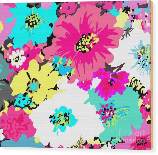 Abstract Floral Background Wood Print