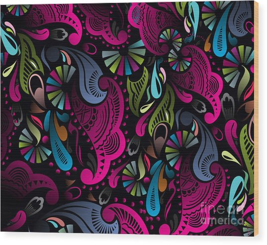 Abstract Floral Pattern, Highly Wood Print