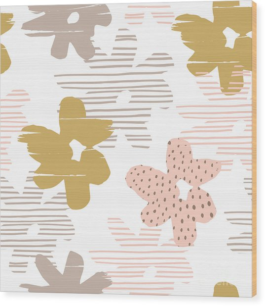 Abstract Floral Seamless Pattern With Wood Print