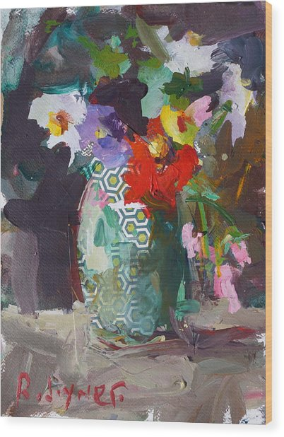 Abstract Flower Still Life Painting Wood Print