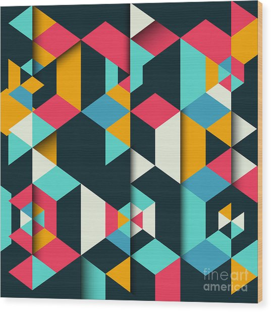 Abstract Geometric Background With A 3d Wood Print