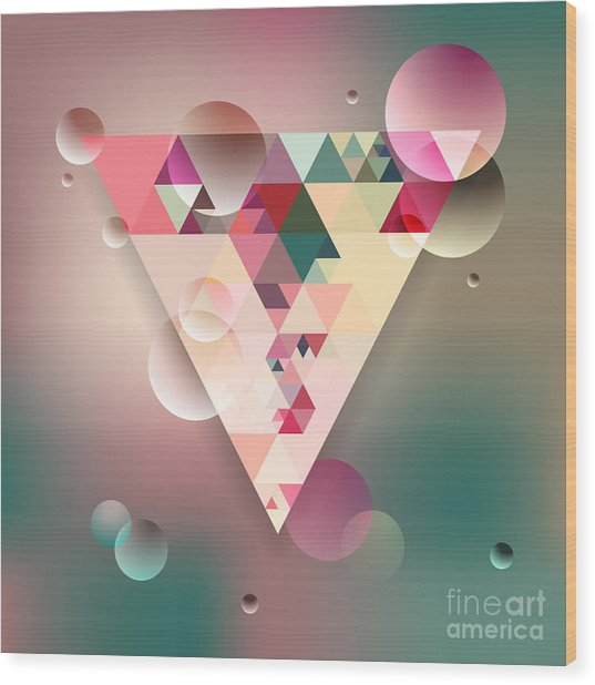 Abstract Geometric Background With Wood Print