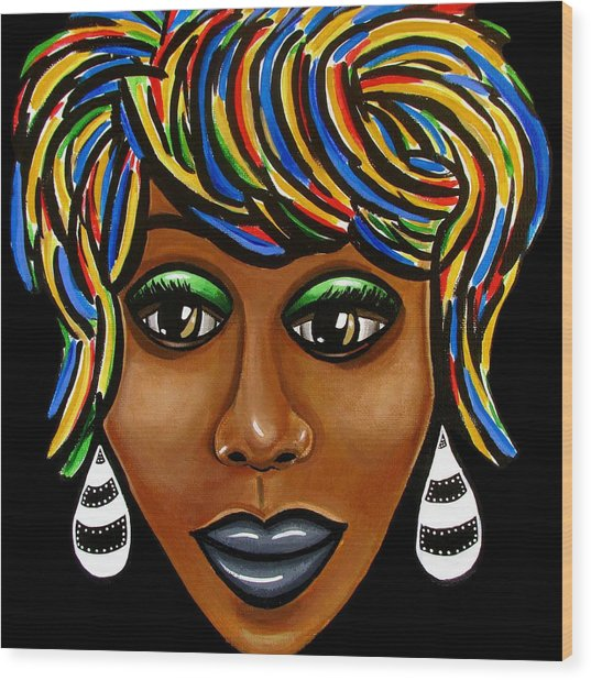 Abstract Art Black Woman Retro Pop Art Painting- Ai P. Nilson Wood Print