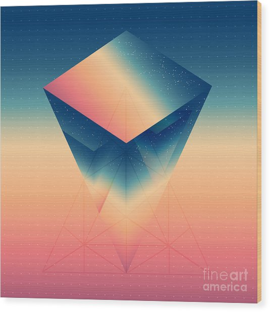 Abstract Isometric Prism With The Wood Print by Boris Znaev