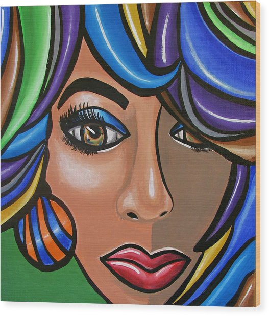 Abstract Woman Artwork Abstract Female Painting Colorful Hair Salon Art - Ai P. Nilson Wood Print