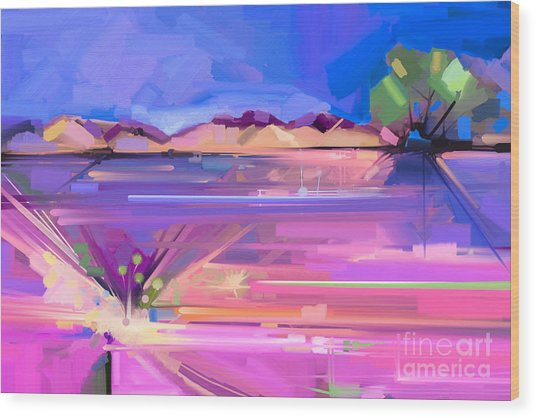 Abstract Oil Painting  Landscape Wood Print