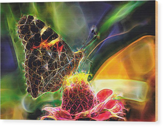 Abstract Painted Lady Butterfly Wood Print