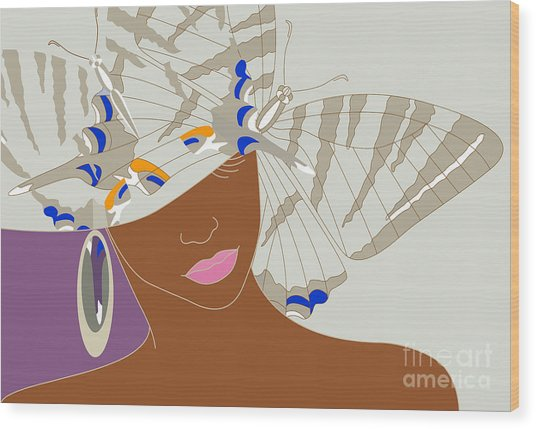 Abstract Portrait Of An African Woman Wood Print