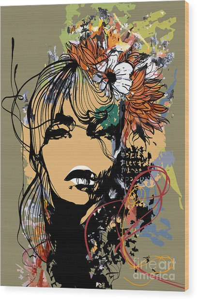Abstract Print With Female Face Wood Print by Alisa Franz