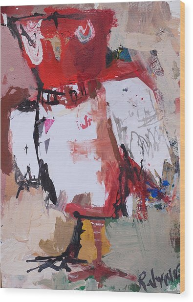 Abstract Red Owl Wood Print