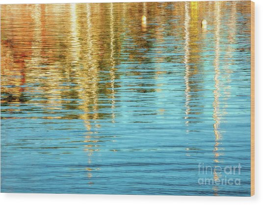 Abstract Reflections In Camden Harbor Maine Wood Print