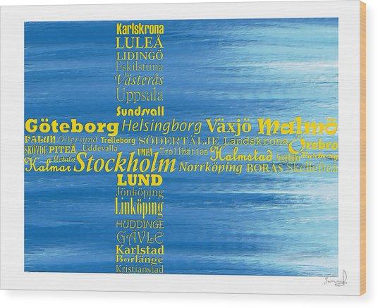 Abstract Swedish Flag  Wood Print