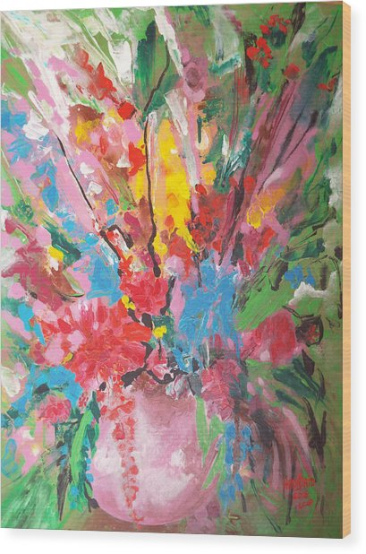 Abstract Vase Of Flowers Wood Print