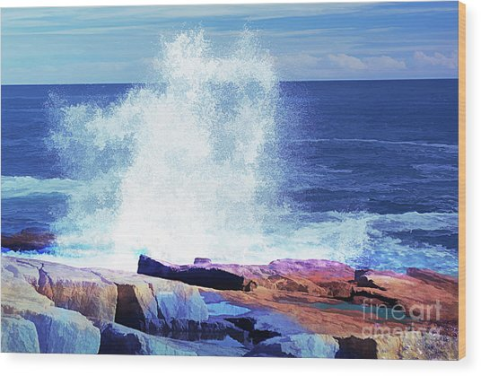 Crashing Waves At Schoodic Point Abstract Wood Print