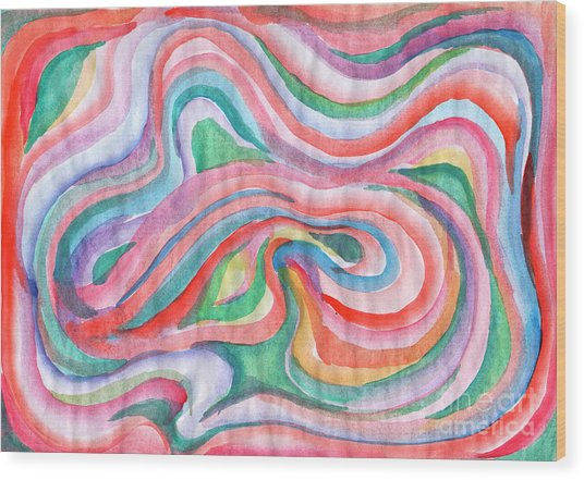 Abstraction In Spring Colors Wood Print