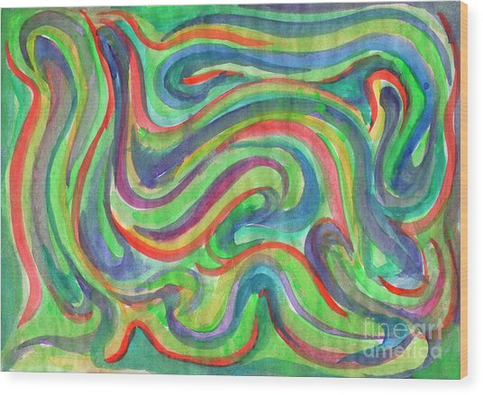 Abstraction In Summer Colors Wood Print