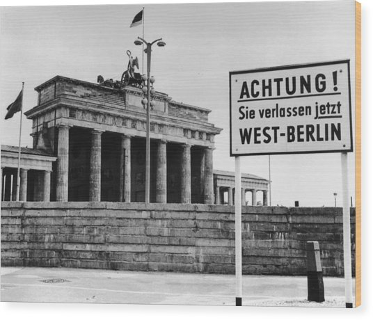 Achtung Wood Print by Central Press