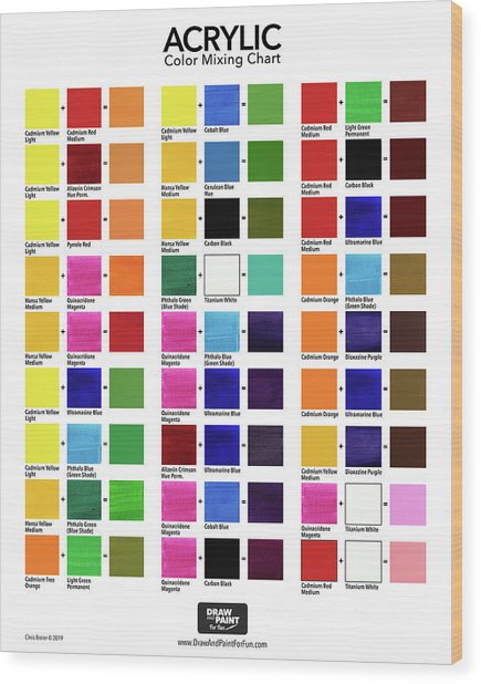 Acrylic Color Mixing Chart Wood Print by Chris Breier