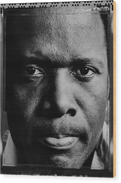 Actor Sidney Poitier Portrait Session Wood Print by George Rose