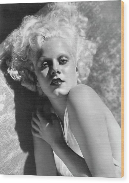 Actress Jean Harlow In Seductive Pose Wood Print by Bettmann