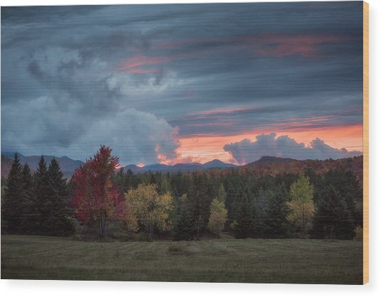 Adirondack Loj Road Sunset Wood Print