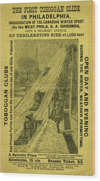 Advertisement For The First Toboggan Slide In Philadelphia Wood Print