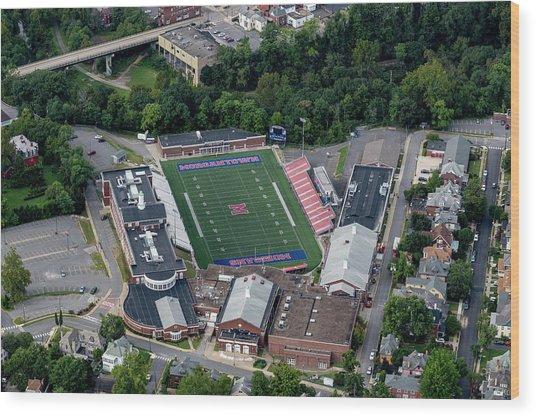 Aerial Of Mhs Football Field And School Wood Print