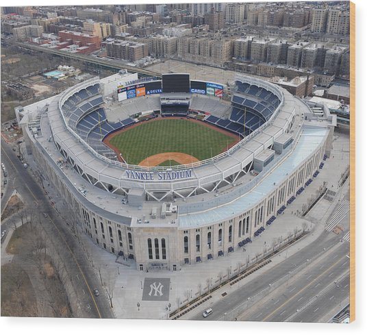 Aerial Photos Of The New Yankee Stadium Wood Print by New York Daily News Archive