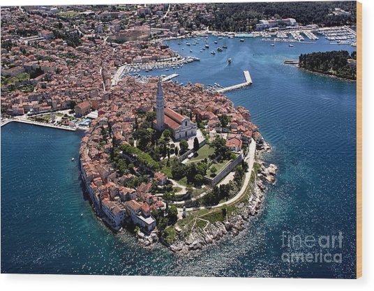 Aerial Shoot Of Old Town Rovinj, Istra Wood Print