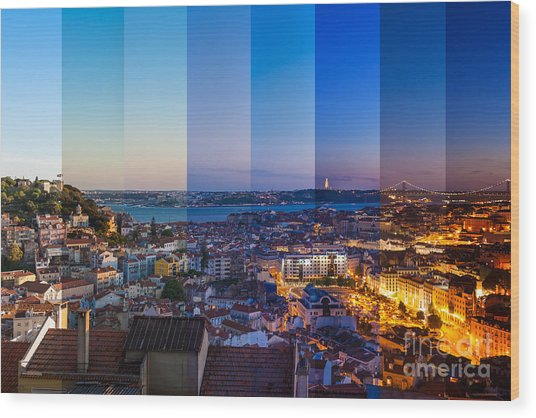 Aerial View Montage Of Lisbon Rooftop Wood Print