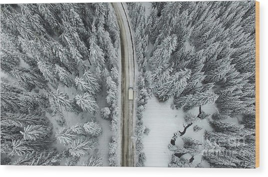 Aerial View Of A Snowy Forest With High Wood Print