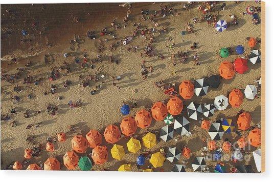 Aerial View Of Beach In Rio De Janeiro Wood Print