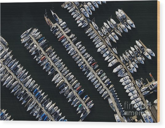 Aerial View Of Boats Lined Up On The Wood Print