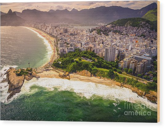 Aerial View Of Buildings On The Beach Wood Print