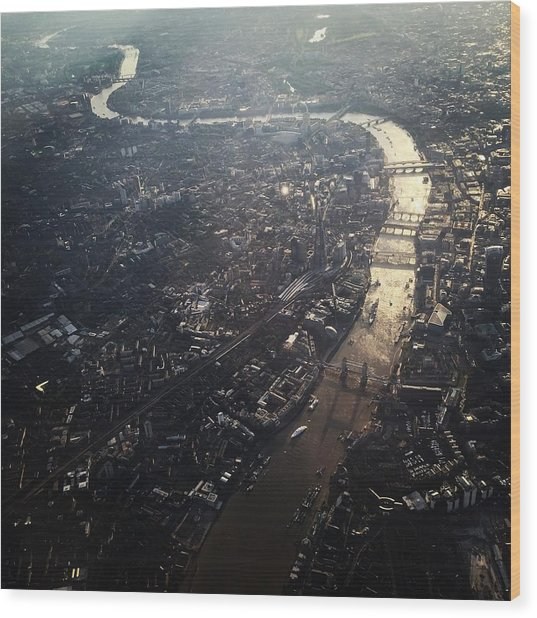 Aerial View Of Cityscape With Thames Wood Print by Caspar Schlickum / Eyeem