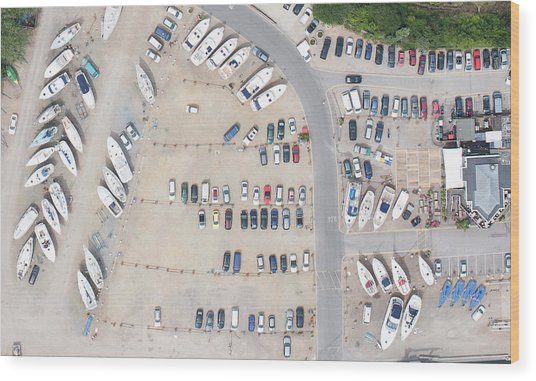 Aerial View Of Dock And Parking Lot Wood Print by Floresco Productions