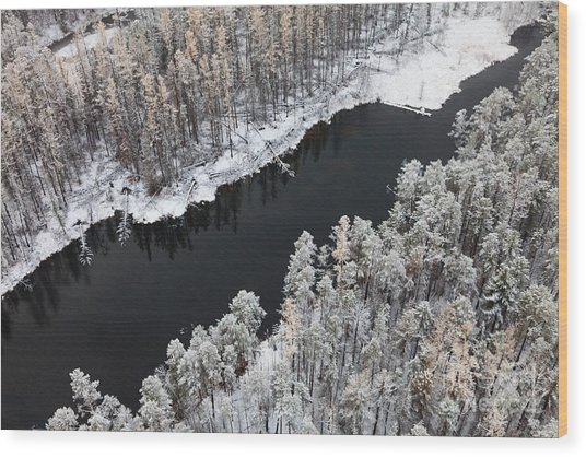 Aerial View Of Forest River In Cold Wood Print