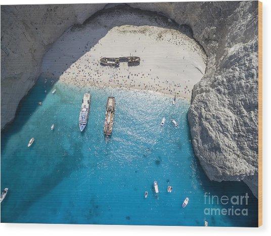 Aerial View Of Navagio Shipwreck Beach Wood Print